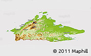 Physical Panoramic Map of Sabah, cropped outside