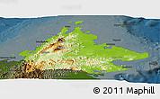 Physical Panoramic Map of Sabah, darken