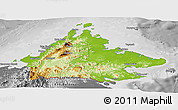 Physical Panoramic Map of Sabah, desaturated