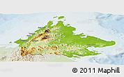 Physical Panoramic Map of Sabah, lighten