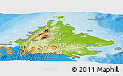 Physical Panoramic Map of Sabah, political outside