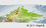 Physical Panoramic Map of Sabah, semi-desaturated