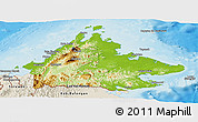 Physical Panoramic Map of Sabah, shaded relief outside