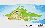 Physical Panoramic Map of Sabah, single color outside