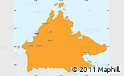 Political Simple Map of Sabah, single color outside
