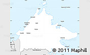 Silver Style Simple Map of Sabah