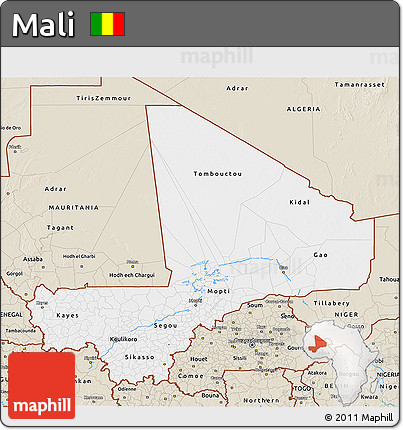 Classic Style 3D Map of Mali