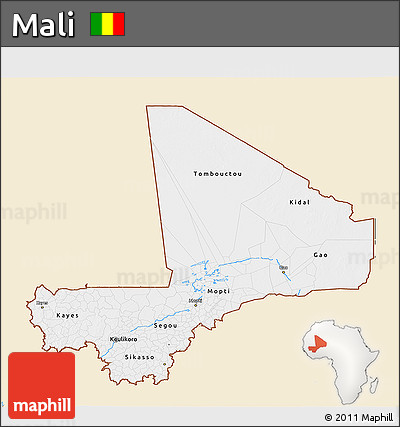 Classic Style 3D Map of Mali, single color outside