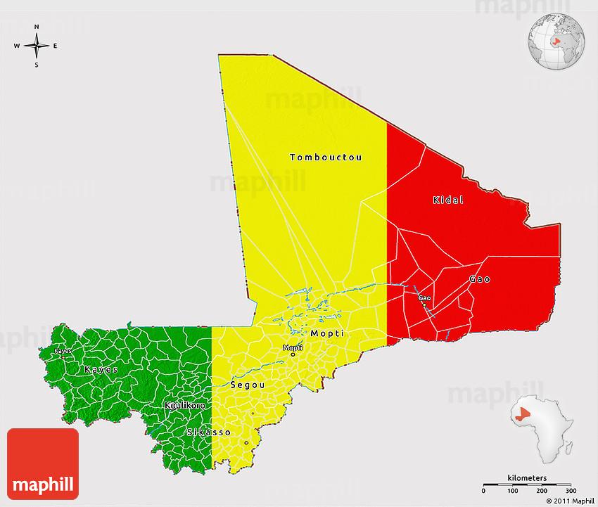 Flag D Map Of Mali - Mali map