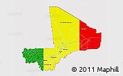 Flag 3D Map of Mali, flag centered