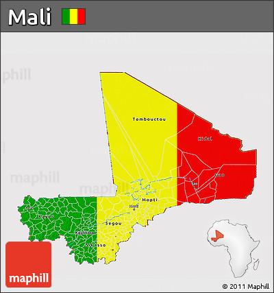Flag 3D Map of Mali