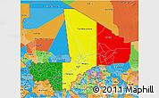 Flag 3D Map of Mali, political outside