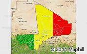 Flag 3D Map of Mali, satellite outside