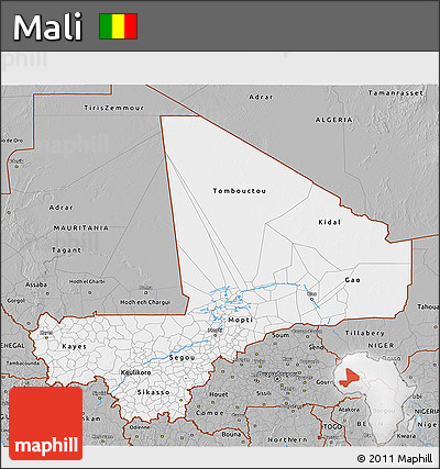 Gray 3D Map of Mali