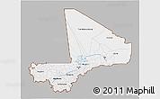 Gray 3D Map of Mali, single color outside