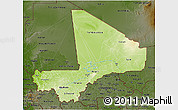 Physical 3D Map of Mali, darken