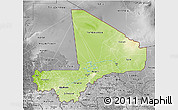 Physical 3D Map of Mali, desaturated