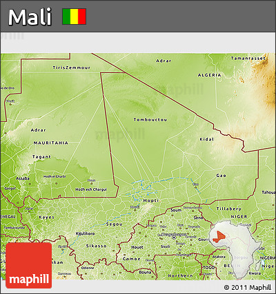 Physical 3D Map of Mali