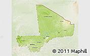 Physical 3D Map of Mali, lighten