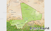 Physical 3D Map of Mali, satellite outside