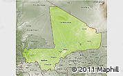 Physical 3D Map of Mali, semi-desaturated