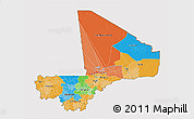 Political 3D Map of Mali, cropped outside
