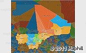 Political 3D Map of Mali, darken