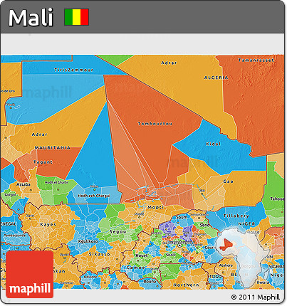 Political 3D Map of Mali