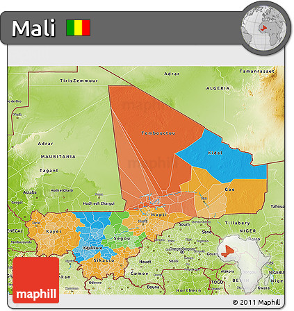 Political 3D Map of Mali, physical outside