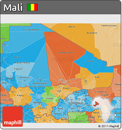 Political 3D Map of Mali, political shades outside