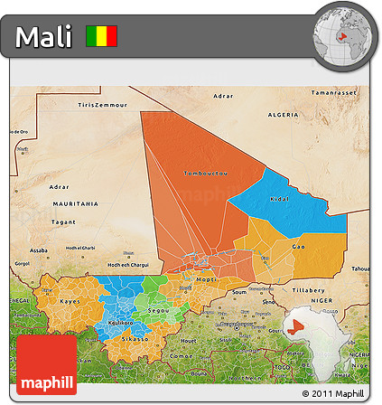 Political 3D Map of Mali, satellite outside