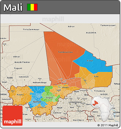 Political 3D Map of Mali, shaded relief outside