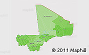 Political Shades 3D Map of Mali, cropped outside