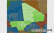 Political Shades 3D Map of Mali, darken