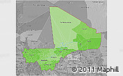 Political Shades 3D Map of Mali, desaturated