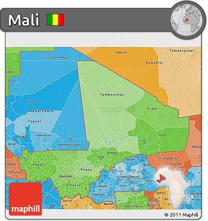 Political Shades 3D Map of Mali