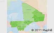 Political Shades 3D Map of Mali, lighten