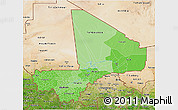 Political Shades 3D Map of Mali, satellite outside
