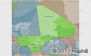 Political Shades 3D Map of Mali, semi-desaturated