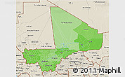 Political Shades 3D Map of Mali, shaded relief outside