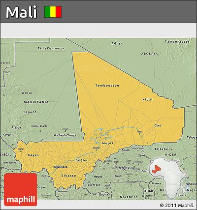 Savanna Style 3D Map of Mali