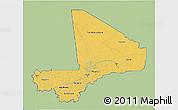 Savanna Style 3D Map of Mali, single color outside