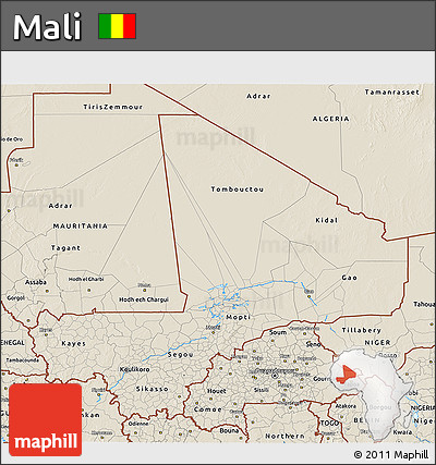 Shaded Relief 3D Map of Mali