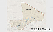 Shaded Relief 3D Map of Mali, lighten