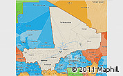 Shaded Relief 3D Map of Mali, political shades outside