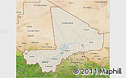 Shaded Relief 3D Map of Mali, satellite outside