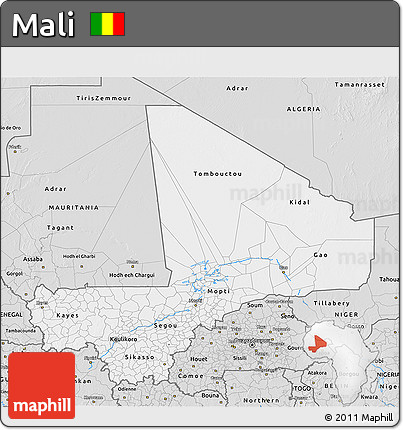 Silver Style 3D Map of Mali