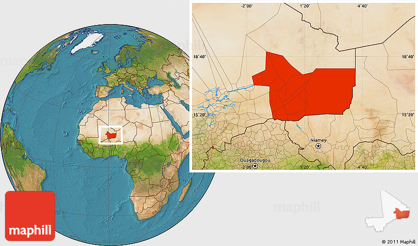 Satellite Location Map Of Gao - Where is mali located