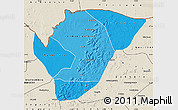 Political Shades Map of Yelimane, shaded relief outside