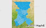 Political Shades Map of Koulikoro, satellite outside